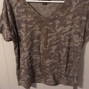 Gently worn (3x) embellished camo top